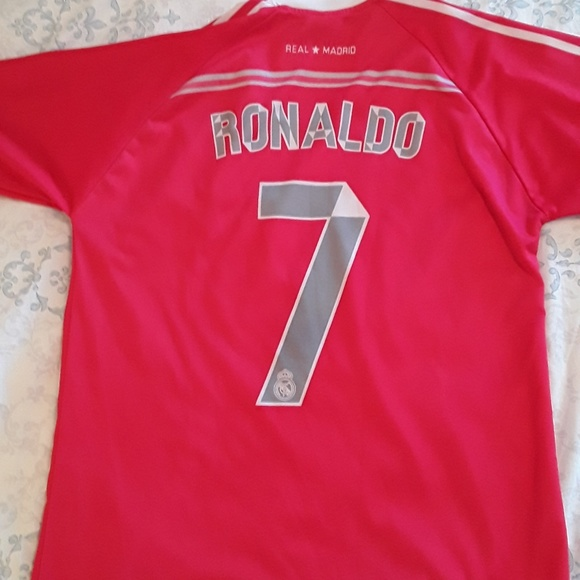 finest selection 90377 a5c5c #7 Ronaldo Real Madrid Fly Emirates Pink Jesey